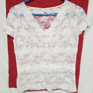 Sheer cream lace blouse by apt 9